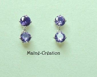 925 Sterling Silver earrings with 2 4mm purple cubic zirconia CZ