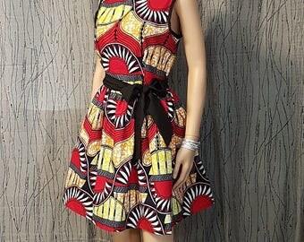 Wax cotton dress. HAND MADE
