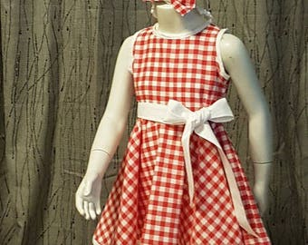 Red and white gingham dress. HAND MADE