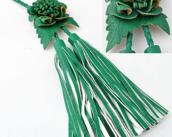 Tassel flower ± 20x7cm leather semi several colors available