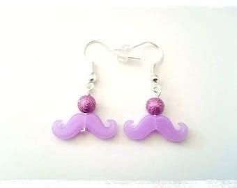 Drop earrings fancy price mini beads violet mustaches violet pastel