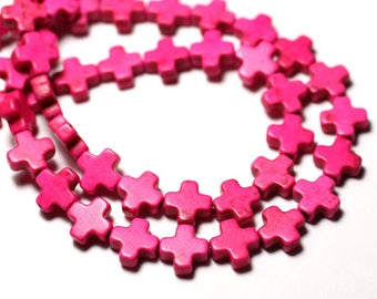 Wire 49pc approx 39cm - cross 8mm neon pink synthetic Turquoise stone beads