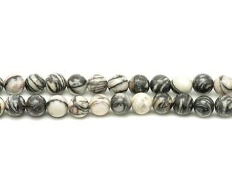 1 strand 39cm stone beads - Zebra Jasper 14mm balls