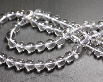 Wire 39cm 46pc env - stone beads - Crystal Quartz balls 8 mm