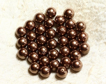 10pc - pearl beads balls 8 mm ref C8 4558550004147 golden brown