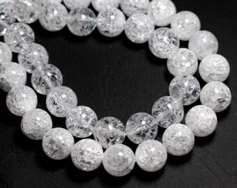 Stone - clear crackled Quartz 14mm 4558550004000 bead 1pc-