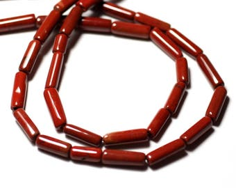 10pc - stone beads - red Jasper Tubes 6-14mm - 8741140012288