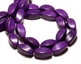 10pc - beads Turquoise synthetic reconstituted Olives Torsadees Twist 18 mm purple - 8741140009820