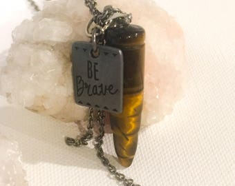 Tigers Eye Bullet Necklace, Tigers Eye Jewelry, Tigers Eye Bullet, Bullet Jewelry, Tigers Eye