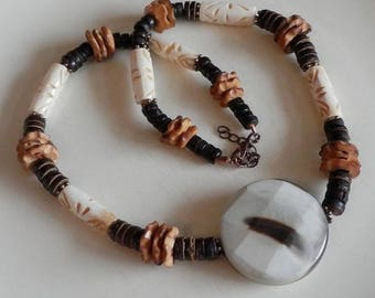 Elrond mens necklace wood bone and agate