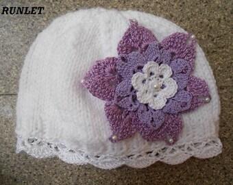 Beanie, hat, flower baby 0.1.3.6mois.