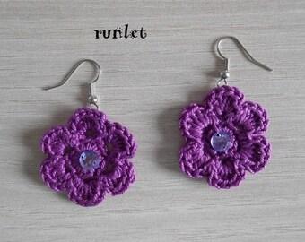 crochet violet  cotton earrings