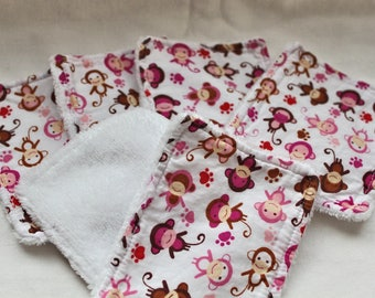 Set of 6 washable wipes, cotton lined