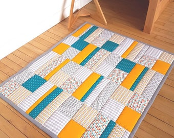 Carpet game or educational quilted baby-yellow, blue, grey patchwork - sold