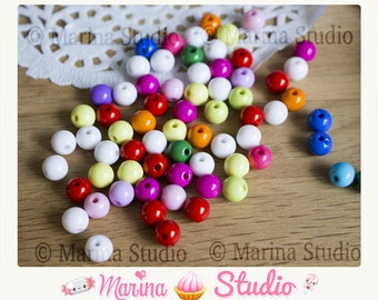 100 beads round 8 m MS27610 mixed color