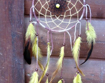 DreamCatcher yellow and Brown / Rooster feathers / actual 55 cm