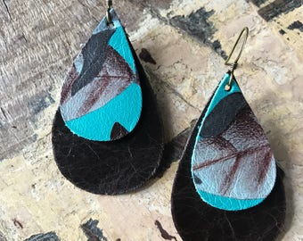 Leather layered earrings in brown and robin egg blue floral print