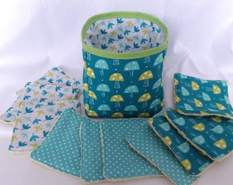washable wipes / baby wipes / tidy /pochon/ baskets reversible matching Terry pistachio leaves and mushrooms pattern