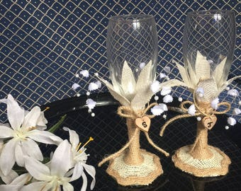 Two Wedding/Quinceañera champagne flutes