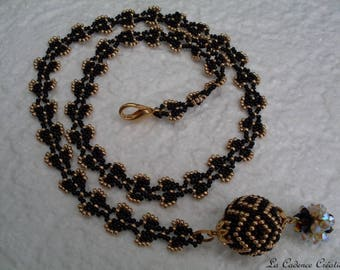 black and gold beaded Pearl Necklace