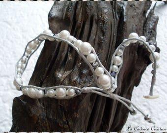 Bracelet 'trend' double turn gray