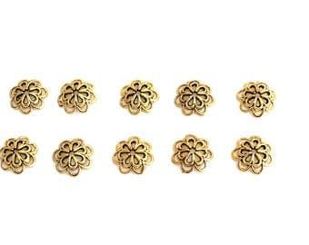 Set of 10 flowers 14 mm metal bead caps antique gold
