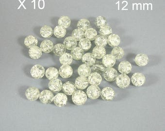 CRYSTAL 12 mm X 10 pieces color Crackle glass beads