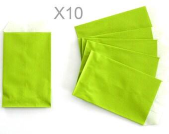 Apple green x 10pcs kraft paper gift pouches