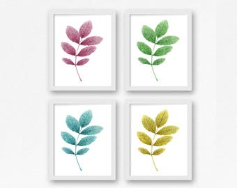 Leaf Prints, Set of 4 Wall Art, Printable Art, Leaves Wall Prints, Kitchen Wall Decor, Botanical Print Set, Gallery Wall Set, Set of Four