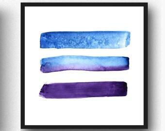 Abstract Watercolor Minimalist Brush Strokes, Printable Art, Watercolour, minimalist art, modern art print, Blue Brush Strokes, Blue Art