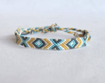 Friendship Bracelet yellow blue grey white motifs ethnic geometric bracelet hippie woman man Brasilda Beach surf