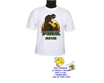 t-shirt kids t - rex dinosaur motif customizable ref 147
