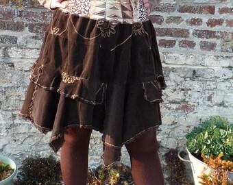Ruffled skirt, size 40/42, Brown Velvet