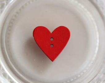 Buttons wood brick red heart