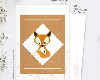 Decorative Fox card postcard illustration - child and adult