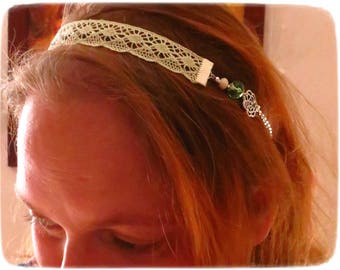 "Headband ""R'urban style"", seafoam, pink, romantic lace, headband, headband, glass"