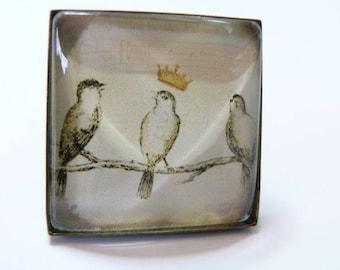 Large Singing bird 25mm silver square ring