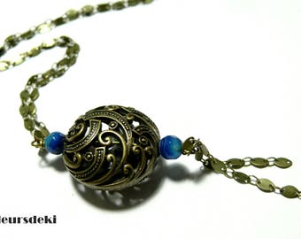 Jewelry of designer Long blue Majesty Agate necklace