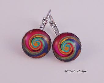 Lever back earrings silver spiral colored glass cabochon