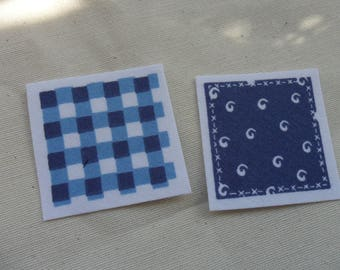 set of 2 blue square fabric badges