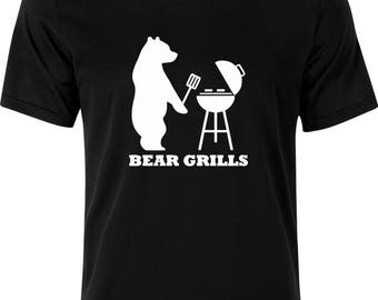 Bear Grills barbecue funny humour 100% cotton t shirt