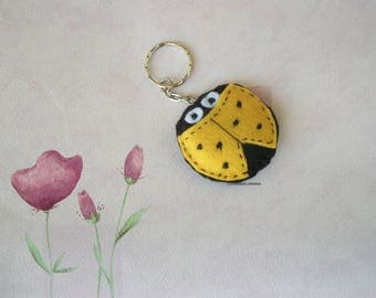 black and yellow felt Ladybug key chains