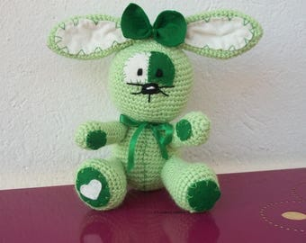 crocheted in green wool and felt Bunny