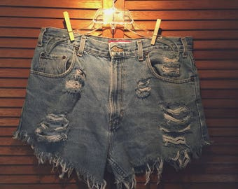Distressed High-Waisted Denim Shorts