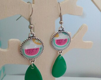 colorful exotic watermelon earrings