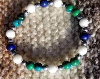 Chrysocolla, Lapis Lazuli, Hematite, and White Alabaster