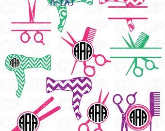 Hairdresser SVG Cut Files, Hairdresser Clipart, Hairdresser Monogram Frames Cut Files for Cricut, Silhouette Studio_Digital Download
