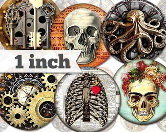 1 inch - Steampunk - 15 Images - Printable INSTANT DIGITAL DOWNLOAD - Jewelry, Stickers, Bottle Caps, Magnets, Buttons - a018