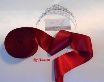 Double faced Burgundy, 5 cm width, good quality satin ribbon