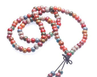 Bright Multicolored Buddhist Meditation Bracelet And Necklace